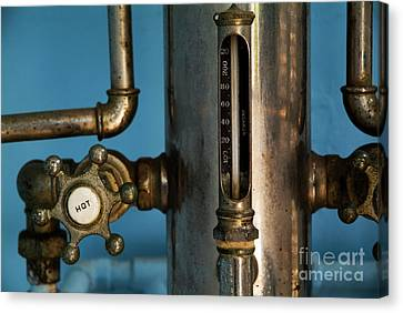 Faucet Of A 19th Century Shower Canvas Print by Sami Sarkis