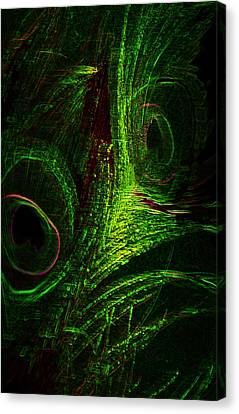 Feathers Of Hope. Green Touch Canvas Print by Jenny Rainbow