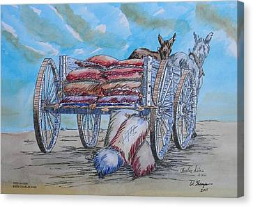 Feed Wagon Watercolor Canvas Print by Charles Sims and Warren Thompson