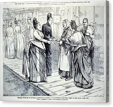 Female Suffrage In Kansas. Ladies Canvas Print by Everett