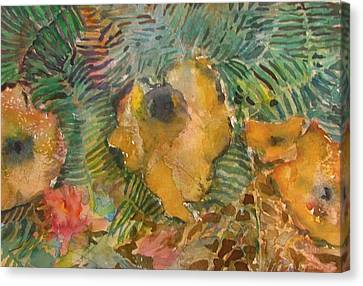 Ferns And Mushrooms Canvas Print by Mindy Newman