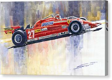 Ferrari 126 Ck Gilles Villeneueve Spanish Gp 1981 Canvas Print by Yuriy  Shevchuk
