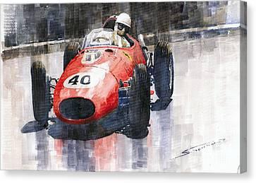 Ferrari Dino 246 F1 Monaco Gp 1958 Wolfgang Von Trips Canvas Print by Yuriy  Shevchuk