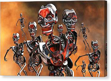 Fierce Androids Riot The City Of Tokyo Canvas Print by Mark Stevenson