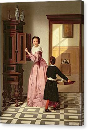 Figures In A Laundryroom Canvas Print by Gustaaf Antoon Francois Heyligers