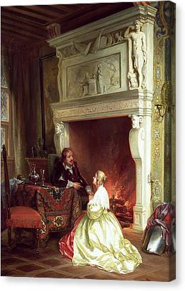 Figures In An Interior  Canvas Print by Ary Johannes Lamme