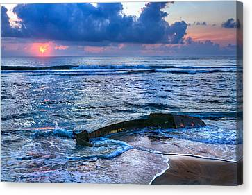 Final Sunrise - Beached Boat On The Outer Banks Canvas Print by Dan Carmichael
