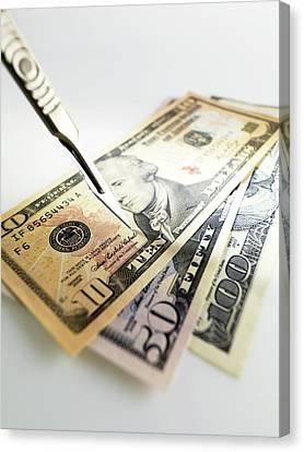 Financial Cuts Canvas Print by Tek Image