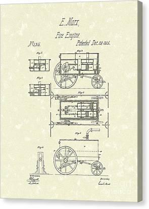 Fire Engine 1845 Patent Art Canvas Print by Prior Art Design