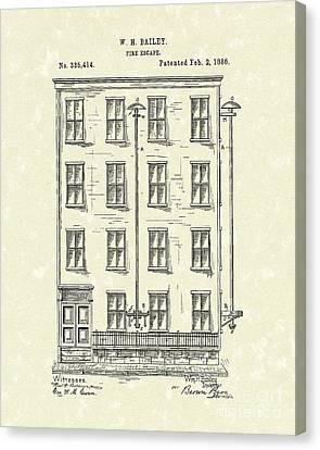 Fire Escape 1886 Patent Art Canvas Print by Prior Art Design