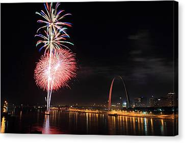 Fireworks From Eads Bridge In Saint Louis Canvas Print by Scott Rackers