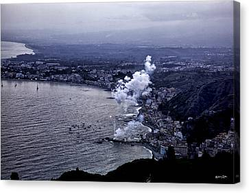 Fireworks In Sicily Canvas Print by Madeline Ellis