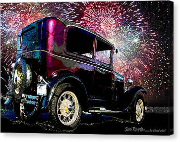 Fireworks In The Ford Canvas Print by Suni Roveto