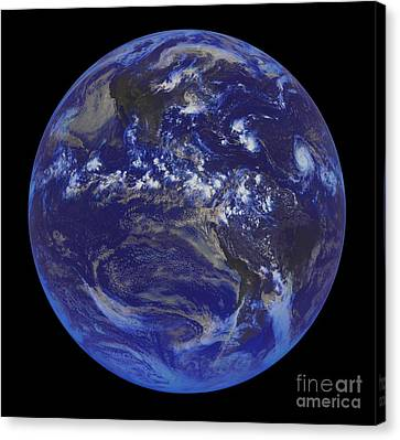 First Goes Satellite Image Of Earth 2008 Canvas Print by Padre Art