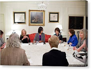 First Lady Michelle Obama And Dr. Jill Canvas Print by Everett