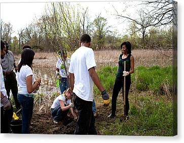 First Lady Michelle Obama Helps Plant Canvas Print by Everett