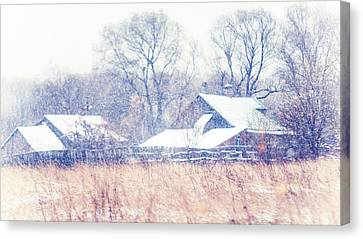 First Snow. Village Canvas Print by Jenny Rainbow