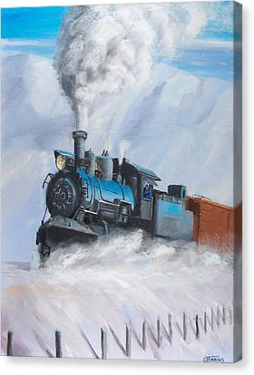 First Train Through Canvas Print by Christopher Jenkins