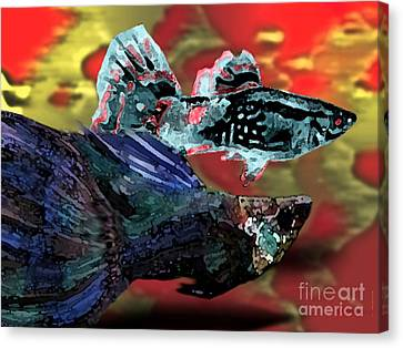 Fish In Digital Art Canvas Print by Mario Perez