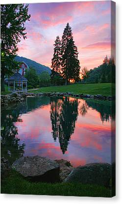 Fish Pond At Sunset I Canvas Print by Steven Ainsworth