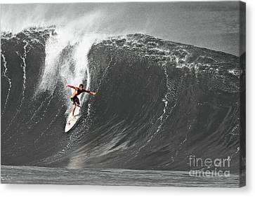 Fisher Heverly Surfing At The Banzai Pipeline Canvas Print by Paul Topp