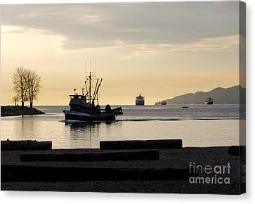 Fisherman Home Returning To Port From The Inside Passage Vancouver Bc Canada Canvas Print by Andy Smy