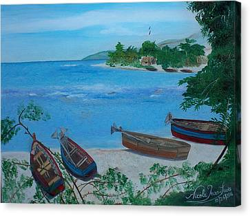 Fishermen Boats By The Sea Canvas Print by Nicole Jean-Louis