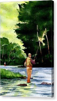 Fishin' The Hatch Canvas Print by Jeff Mathison