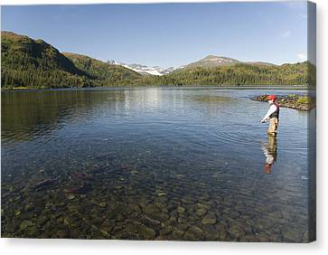 Fishing At Shrode Lake Canvas Print by Gloria & Richard Maschmeyer