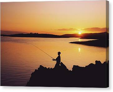 Fishing At Sunset, Roaring Water Bay Canvas Print by The Irish Image Collection