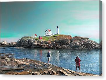 Fishing At The Nubble Lighthouse Canvas Print by Earl Jackson