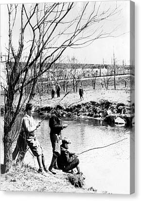 Fishing In The Bronx River,  New York Canvas Print by Everett