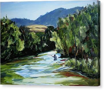 Fishing On The Boise Canvas Print by Les Herman