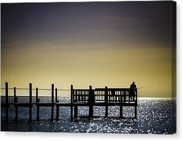Fishing The End Of The Pier Canvas Print by Mabry Campbell
