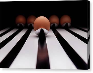 Five Brown Eggs Held In Five Stainless Steel Spoon Canvas Print by TonyMaj