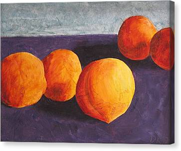 Five Peaches Canvas Print by Dina Day
