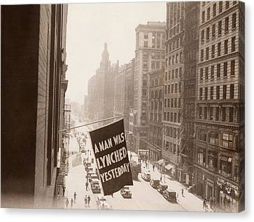 Flag Announcing Another Lynching. A Man Canvas Print by Everett
