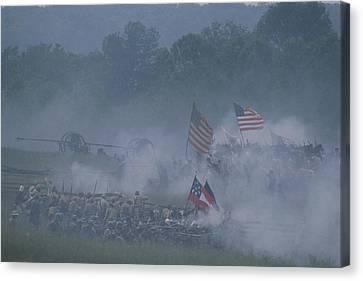Flags, Soldiers, And Gun Smoke Canvas Print by Kenneth Garrett
