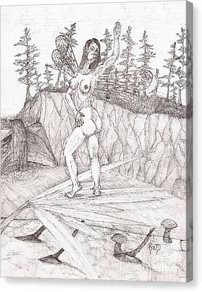 Flexible In The Morning... - Sketch Canvas Print by Robert Meszaros