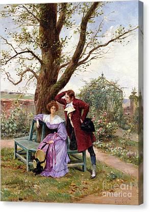 Flirtation Canvas Print by Georges Jules Auguste Cain