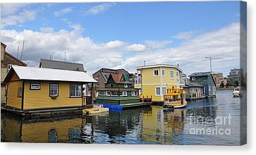 Float Houses In Victoria Canada Canvas Print by Tanya  Searcy
