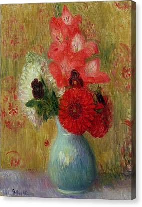 Floral Arrangement In Green Vase Canvas Print by William James Glackens