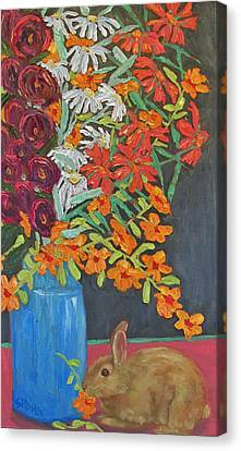 Floral Bouquet And Bunny Canvas Print by Susan  Spohn