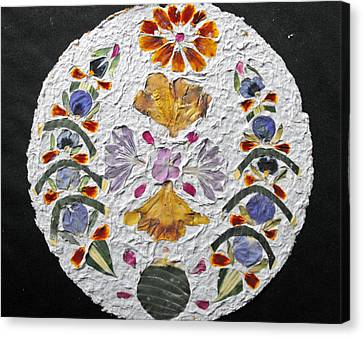 Floral Collage On Handmade Paper No. 2031 Canvas Print by Mircea Veleanu