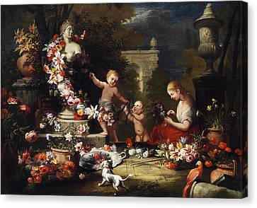 Floral Offering To The Goddess Venus Canvas Print by Abraham Brueghel