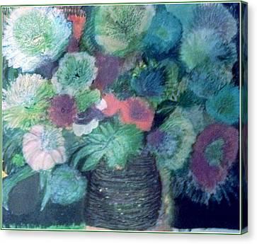 Floral With Blues Canvas Print by Anne-Elizabeth Whiteway