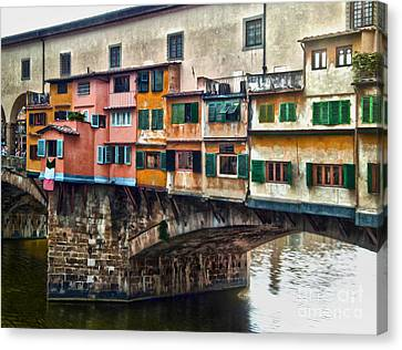 Florence Italy - Ponte Vecchio Canvas Print by Gregory Dyer