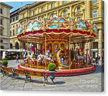 Florence Italy Carousel - 02 Canvas Print by Gregory Dyer