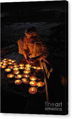 Flower Ceremony On The Ganges River Canvas Print by Jen Bodendorfer