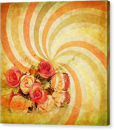 Flower Pattern Retro Style Canvas Print by Setsiri Silapasuwanchai